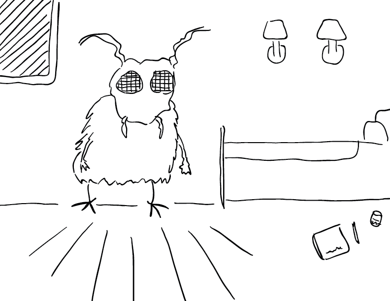 crude mono sketch of a surprised bugfolk in its bedroom