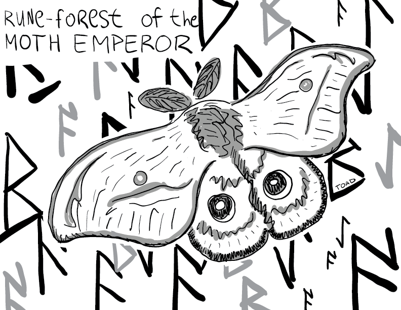 crude greyscale sketch of a big moth in a field of runes