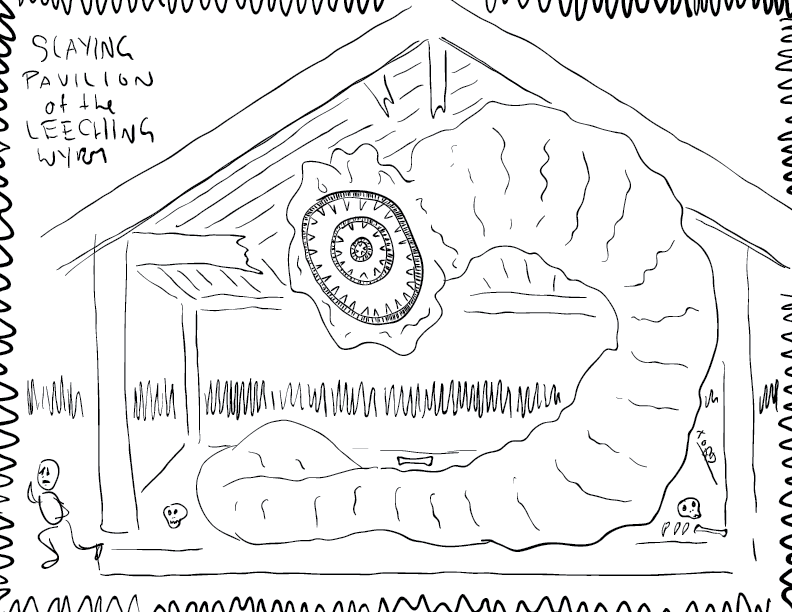 crude mono sketch of a giant leeching wyrm in a broken pavilion, with skulls, bones, and frightened prey