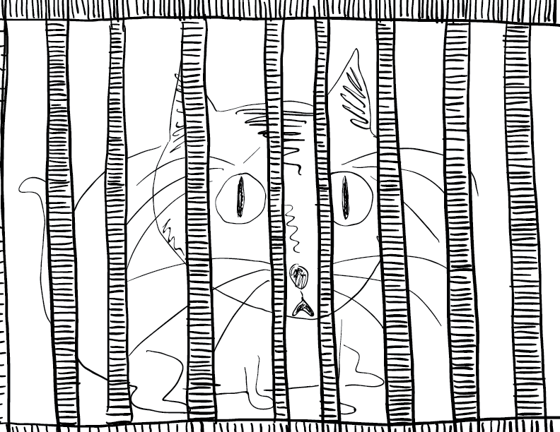 crude mono sketch of a sad, trapped cat in a cage