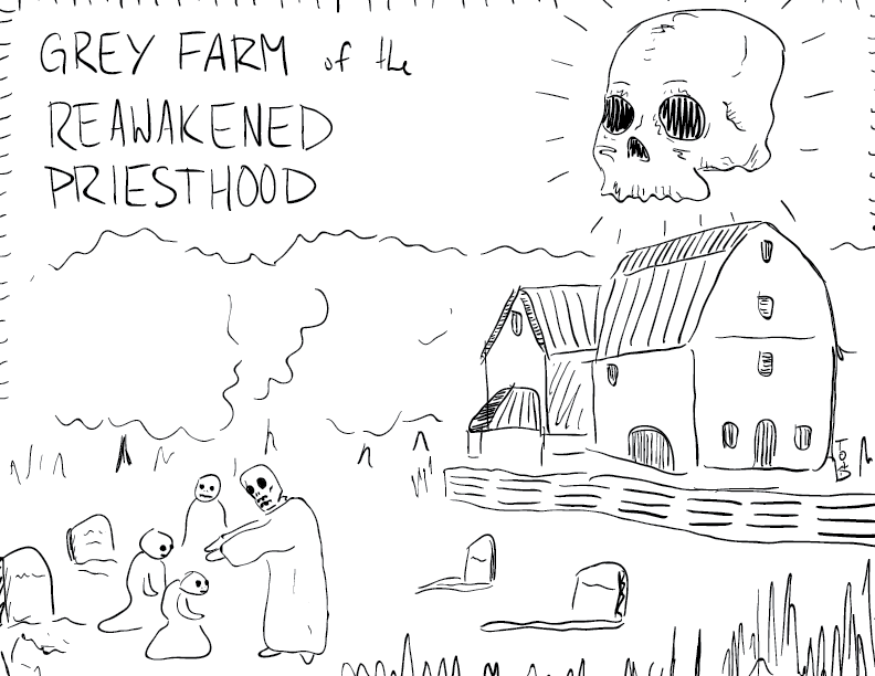 crude mono sketch of a farm, with a skull in the sky, and several skeleton folk blessing other skeleton folk outside a barn