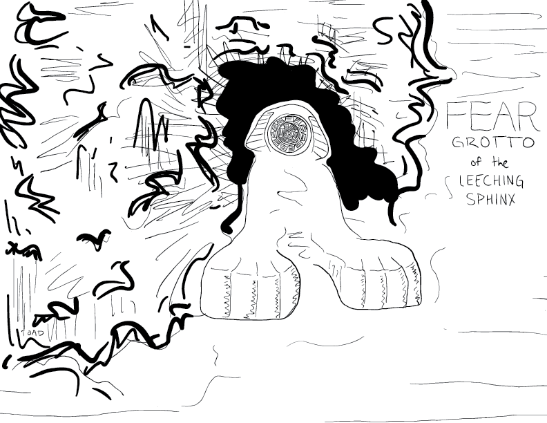 crude mono sketch of the fear grotto of the leeching sphinx, a ring-mouth faced creature set into a wet cave