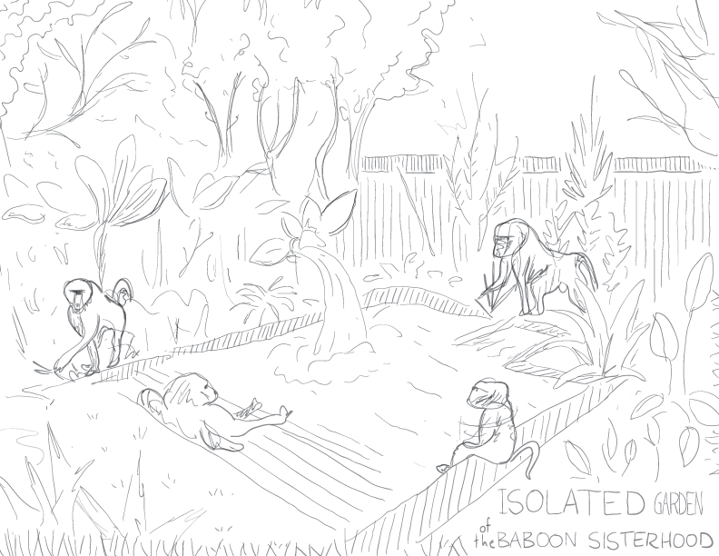 crude greyscale sketch of a pleasant garden pool with a few baboons taking their ease