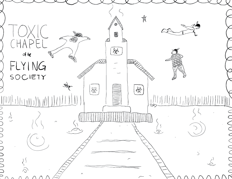 crude mono sketch of the toxic chapel of the flying society, wherein a toxic church is surrounded by feather-wearing flying guys