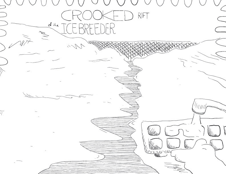 crude mono sketch of an expanse of cracked ice, with an ice cube tray in the foreground being filled up
