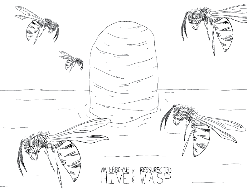 crude mono sketch of a hive in a still body of water, surrounded by wasps