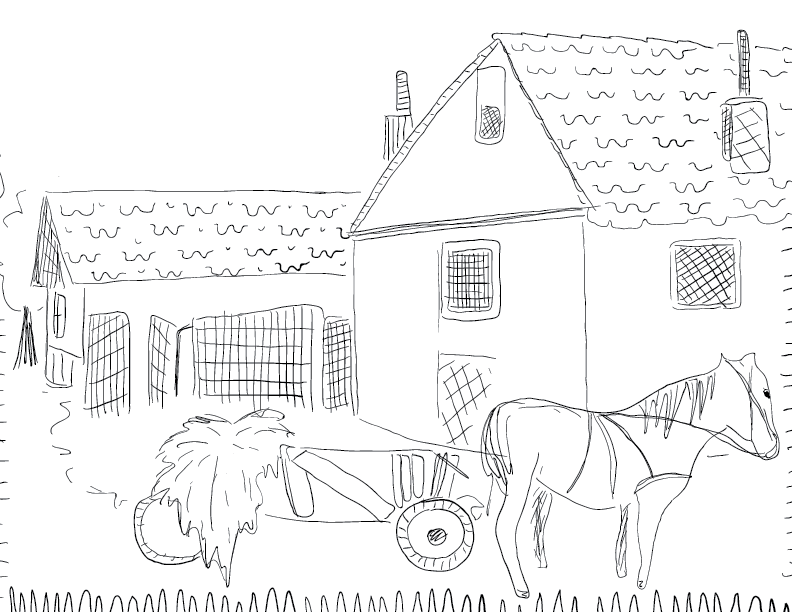 crude mono sketch of a small, pastoral village, replete with horse and cart