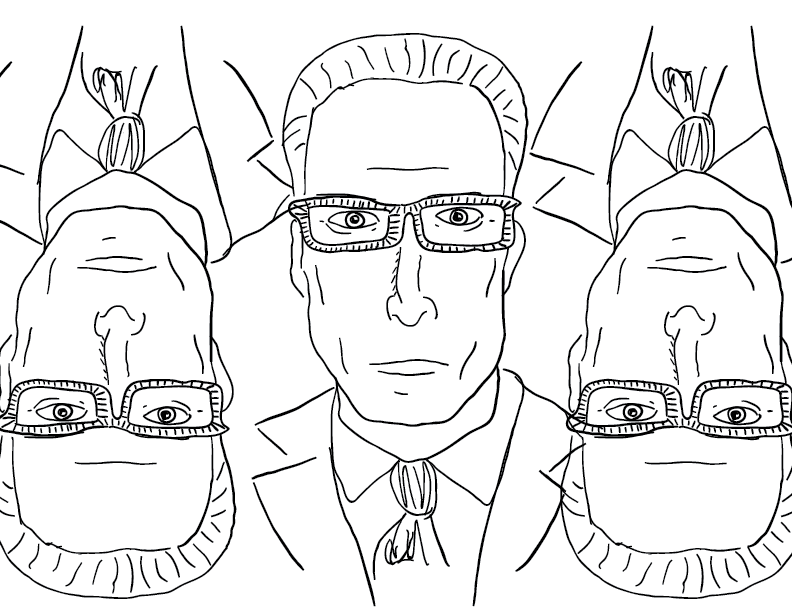 crude mono portrait of Ted Danson, flipped a couple times