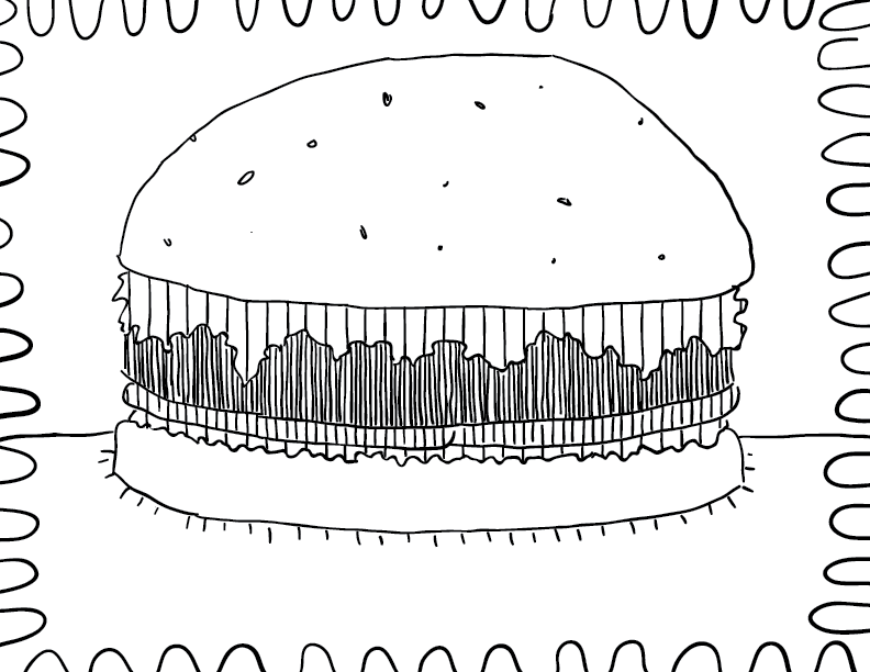 sketch: crude mono sketch of a fully-loaded hamburger