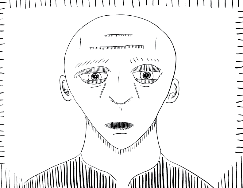 crude mono sketch of a vaguely sad looking bald man, staring at the viewer