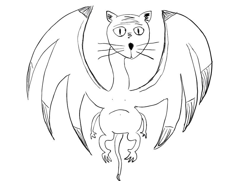 crude mono sketch of a dragon-looking creature with the head of a housecat