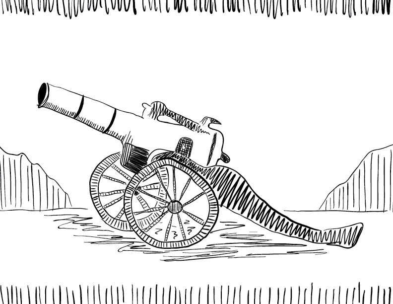 crude mono sketch of a cannon on a field