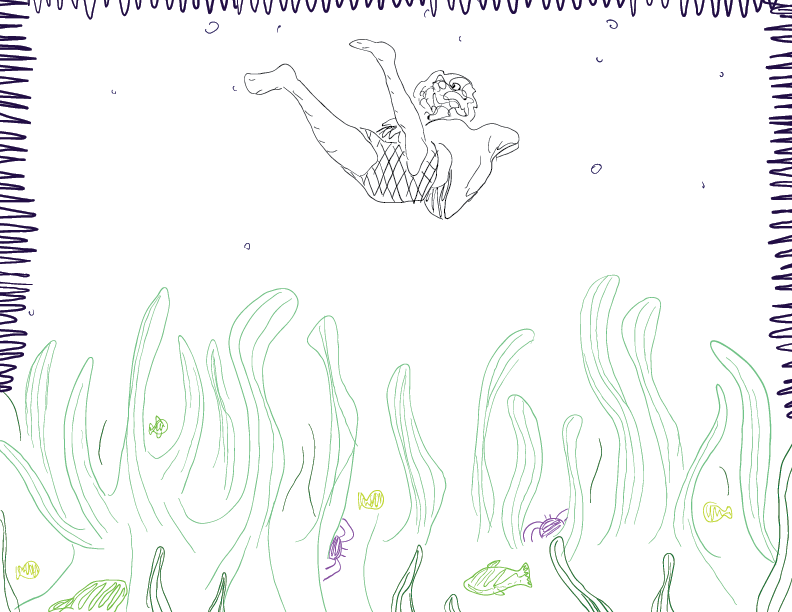 crude colour sketch of a human figure below the water, and the flora and fauna on the seabed