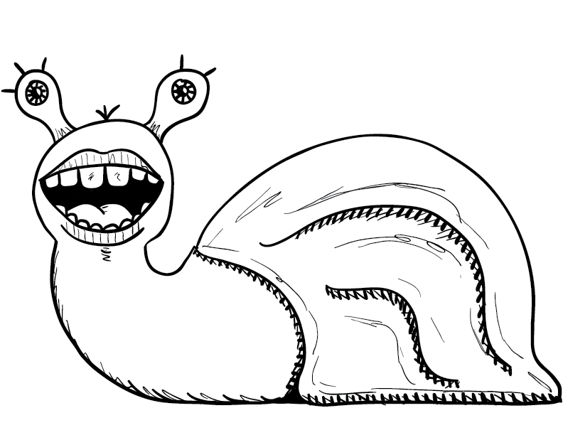 crude mono sketch of a cartoonishly humanesque grinning snail thing