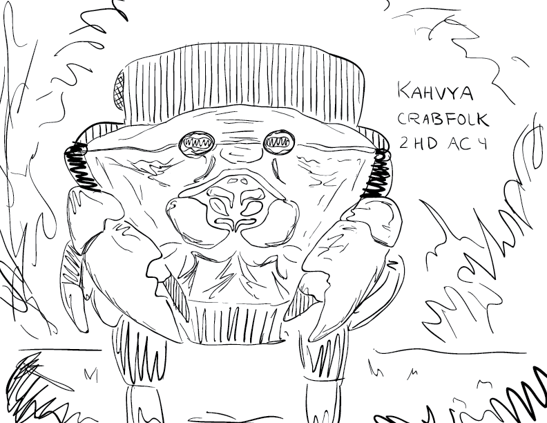 crude mono sketch of a crab person wearing a backpack, labelled Kahvya, Crabfolk, 2HD AC 4
