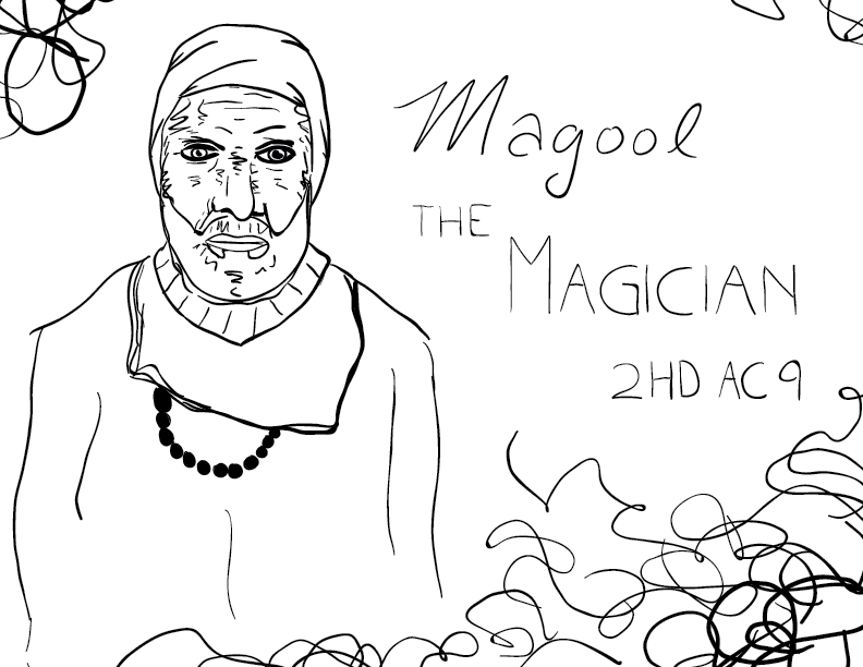 crude mono sketch of an older man wearing robes, a turban, and beads, labelled Magool the Magician, 2HD, AC 9