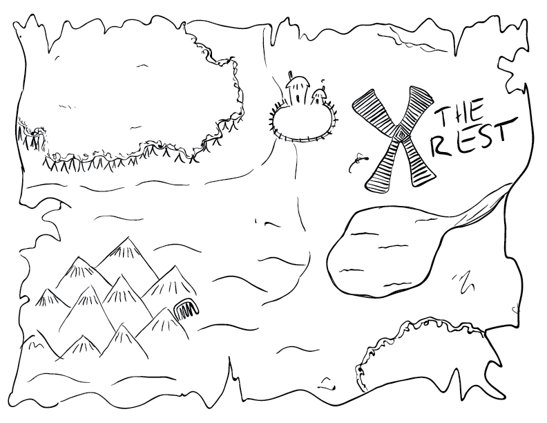"crude mono sketch of an old treasure map with an X marked ""the rest"""