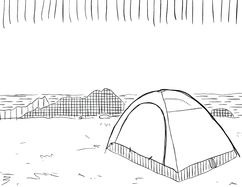 crude mono sketch of a camping tent on a cliff