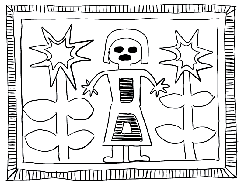 crude mono sketch of a Huichol yarn painting featuring a lady with two flowers