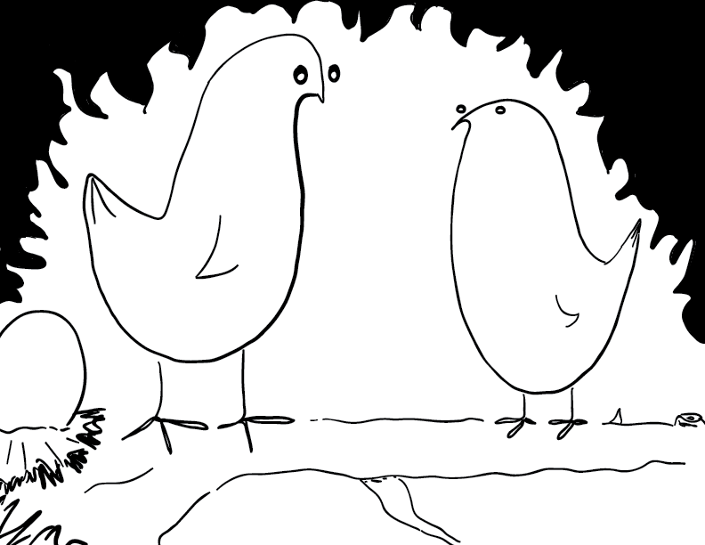 crude mono sketch of two birds alongside a nest with an egg, standing on a branch