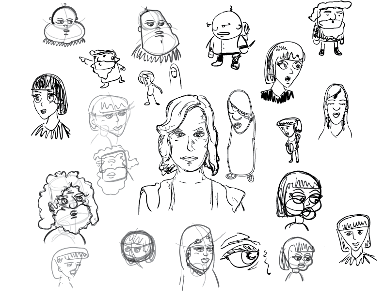 crude mono sketches of some sprawling place character design attempts. more research needed.
