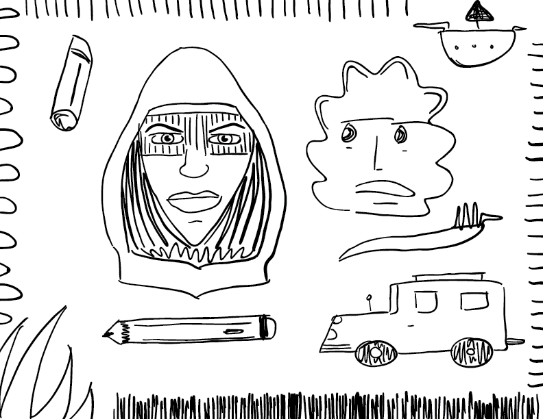 crude mono sketch of a bunch of unrelated objects, including a truck, a pencil, a boat, and the face of Sister Night from HBO's Watchmen