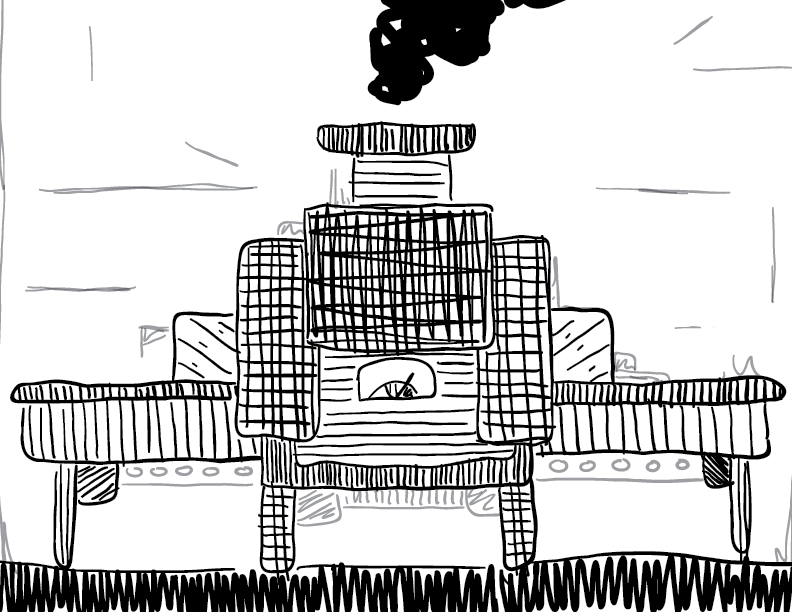 crude greyscale sketch of some cryptic pollutant machine