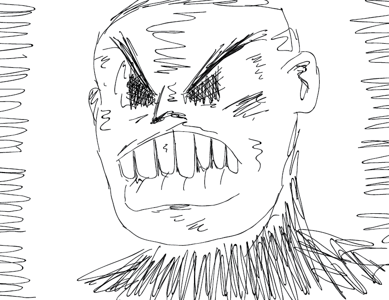 crude mono sketch of an angry man