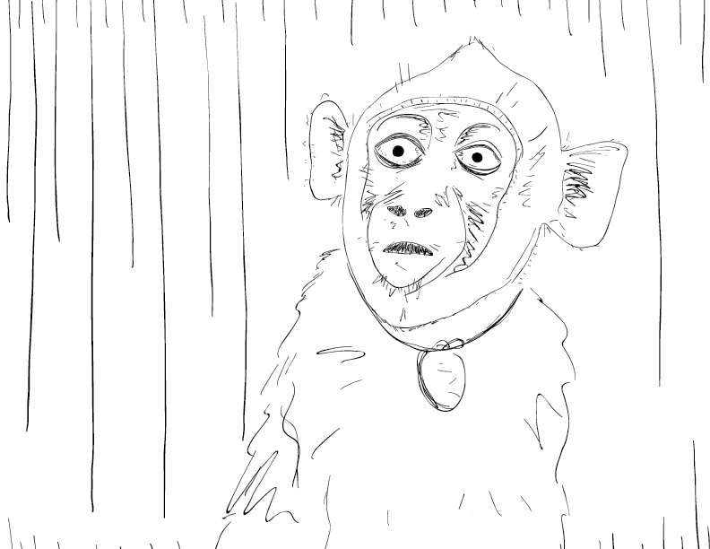 crude mono sketch of a surprised and alarmed monkey wearing a collar