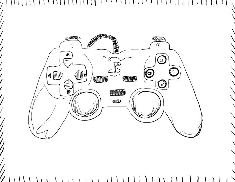 crude mono sketch of a controller from the PlayStation 2