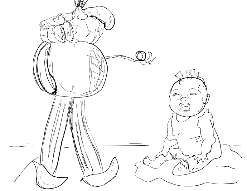 crude mono sketch of a baby crying at a weird plant person sculpture, sketched from a photo in the New Yorker