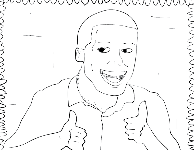 crude mono sketch of a happy fellow giving two thumbs up