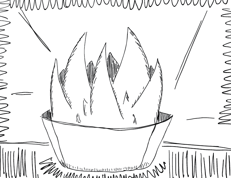 crude mono sketch of a spiky plant on a window sill