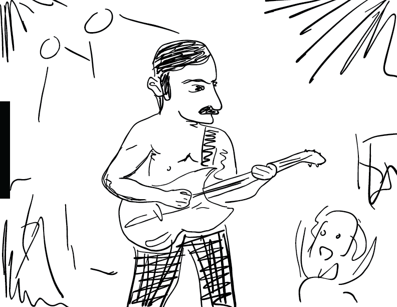 "crude mono sketch of a squat Frank Zappa playing guitar shirtless on stage during ""Village of the Sun"""