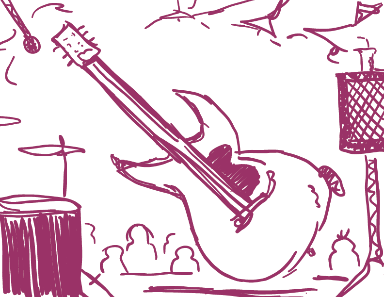 crude purple sketch of an electric guitar disembodied on stage, with a few blank folks seeming to watch
