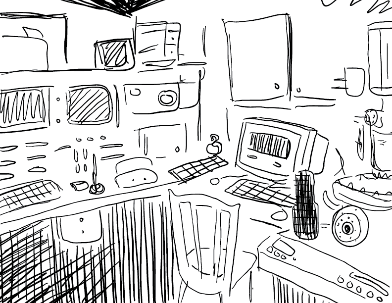crude mono sketch of some kind of beam lab workstation