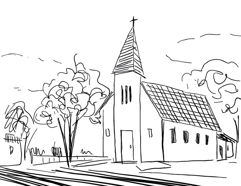 crude mono sketch of a Christian church and surrounding environs
