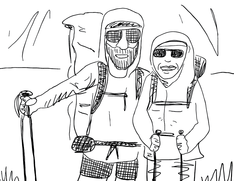 crude mono sketch of two outdoor adventurers posing for a photo at a summit