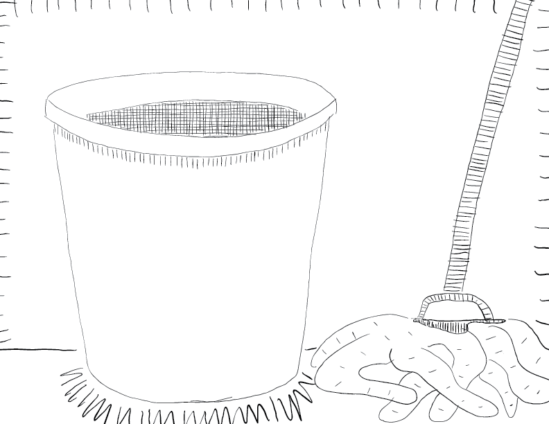 crude mono sketch of a mop and bucket