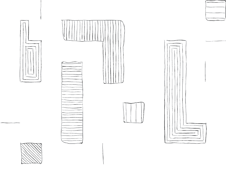 crude mono sketch of a series of blocky abstract shapes with lined patterns