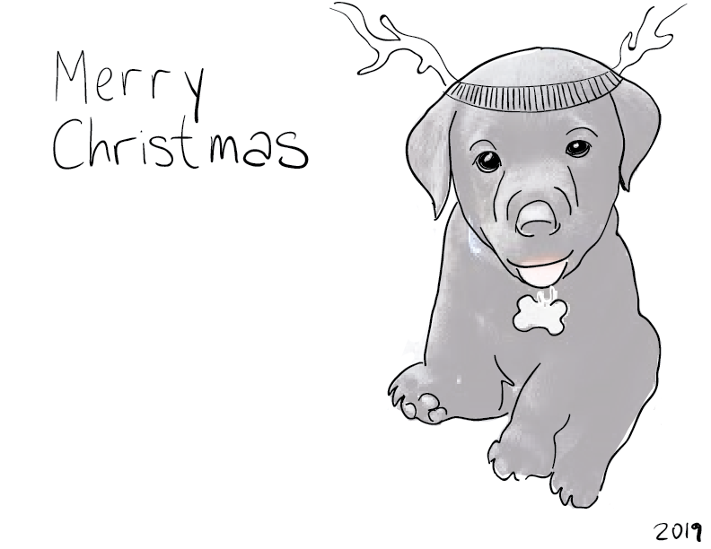 "crude trace and sketch of a black lab puppy with reindeer antlers and a caption reading ""Merry Christmas"""
