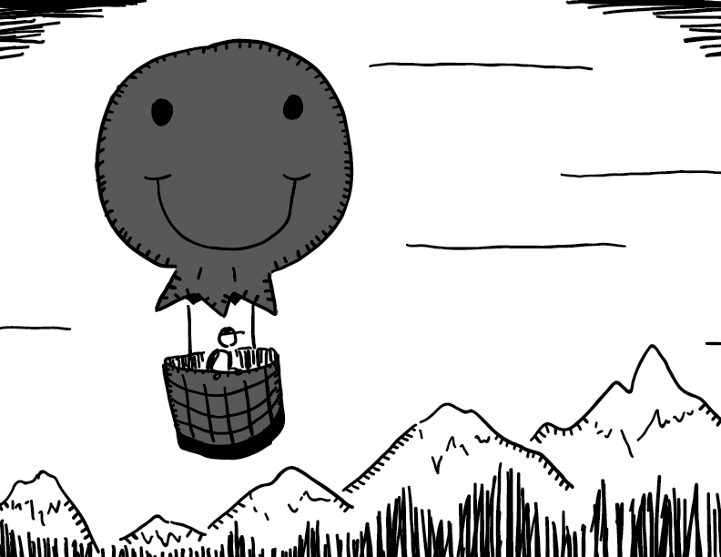 crude greyscale sketch of a figure in a happy face air balloon floating over a mountain chain