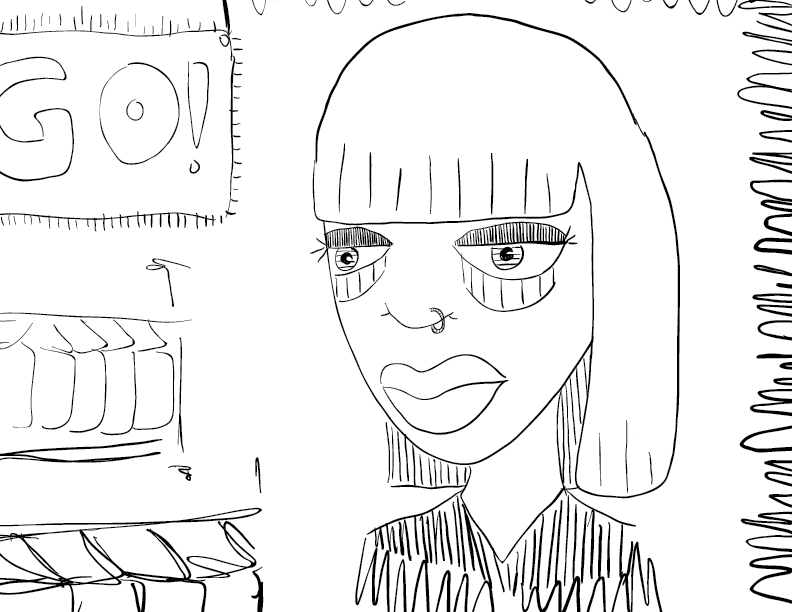 crude mono sketch of a tired looking woman in a clothing shop during a sale