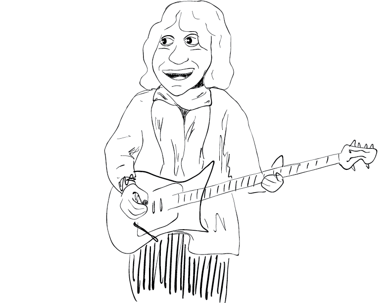 crude mono sketch of guitarist Albert Lee