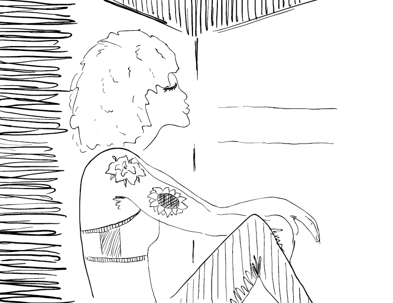 crude mono sketch of a tatooed woman relaxing against a wall