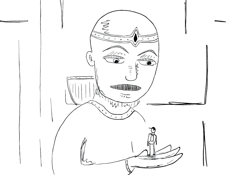 crude mono sketch of a large bald woman with a circlet holding a tiny person in her hand