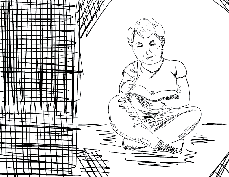 crude mono sketch of a lady sitting cross legged reading a book