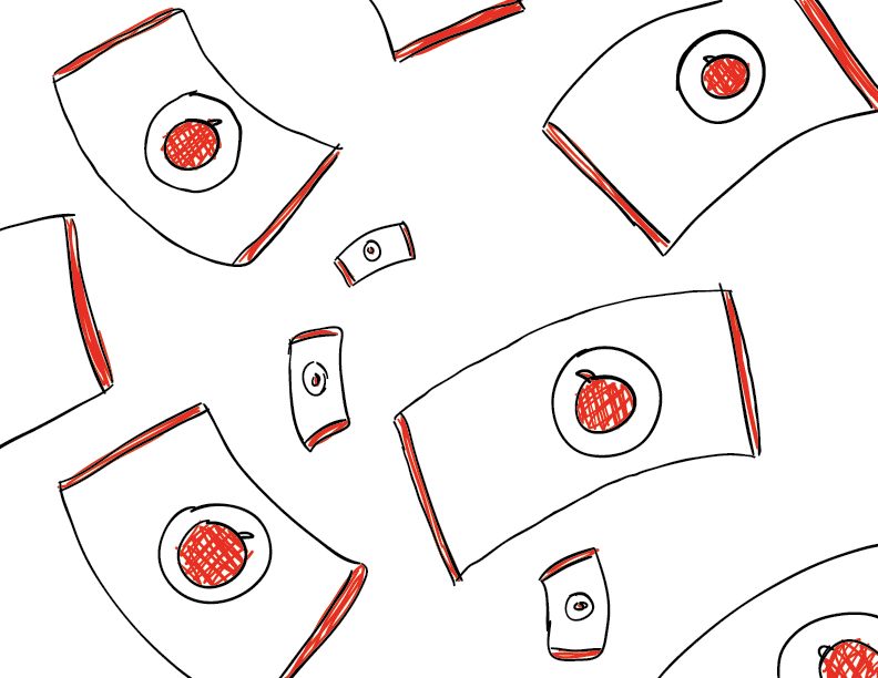 crude mono sketch of ketchup packets falling from the sky. I hope I don't get sued by Sky media