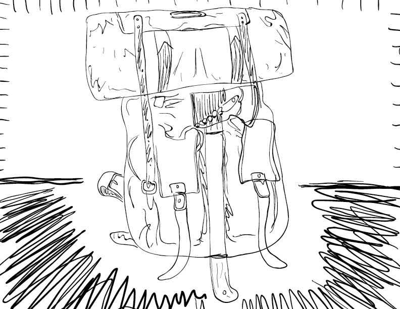 crude mono sketch of a packed backpack with a bedroll and axe attached