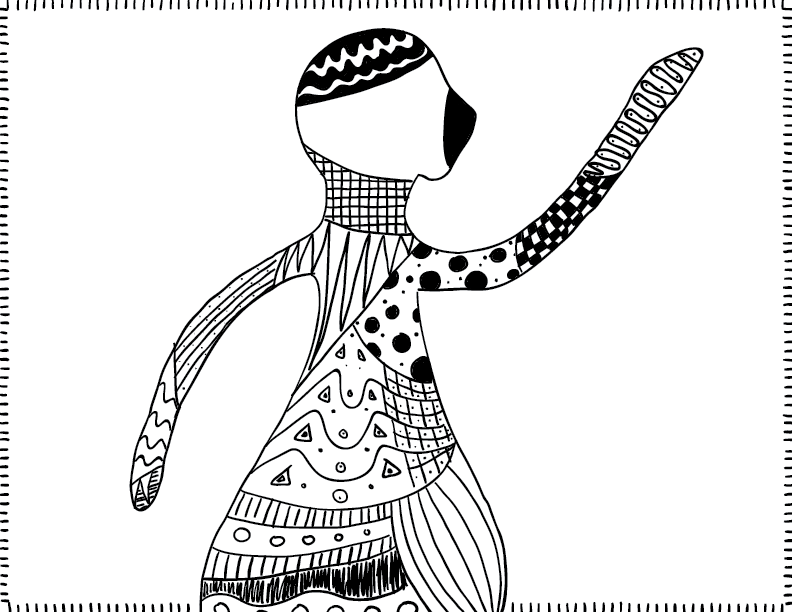 crude mono sketch of a human figure composed of various patterns